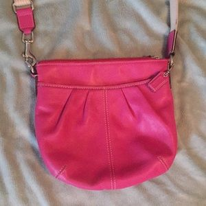 Coach crossbody pink leather